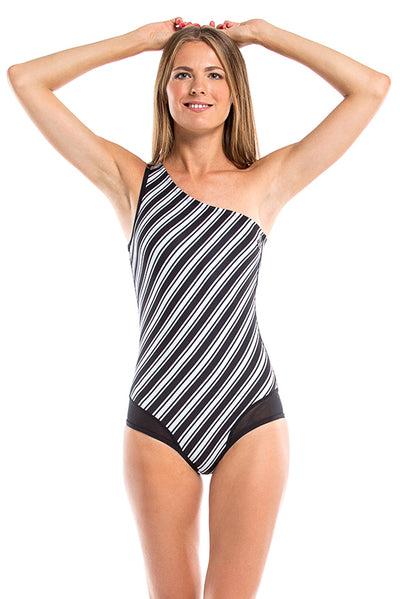 Vibrant Stripes Assimetric Neck One Piece Swimsuit