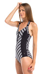Vibrant Stripes Halter Neck Front Zip One Piece Swimsuit