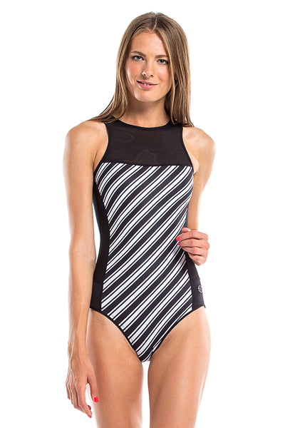 Vibrant Stripes Round Neck Back Zip One Piece Swimsuit