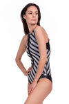 Vibrant Stripes Round Neck Front Zip One Piece Swimsuit