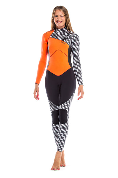 Vibrant Stripes 3/2 MM Chest Zip GBS Wetsuit