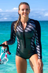 Black Pearl 1 MM Long Sleeve Front Zip Bikini Cut Shorty