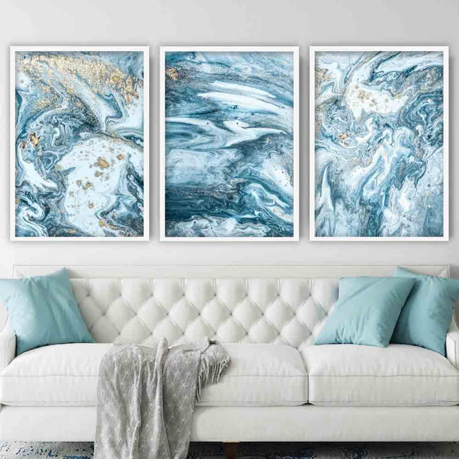 Abstract Blue and Gold Ocean Wall Art Prints