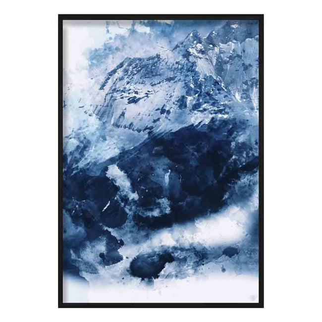 Blue Abstract Mountain 3 Watercolour Poster