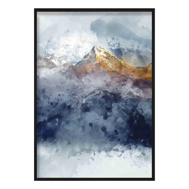Navy Blue & Yellow Mountains Abstract Watercolour 2 Poster