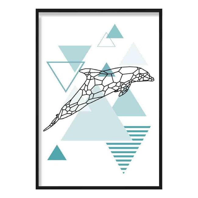 Dolphin Abstract Geometric Scandinavian Aqua Blue Poster