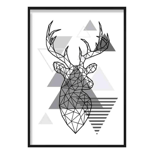 Stag Head Looking Right Abstract Geometric Scandinavian Mono Grey Poster