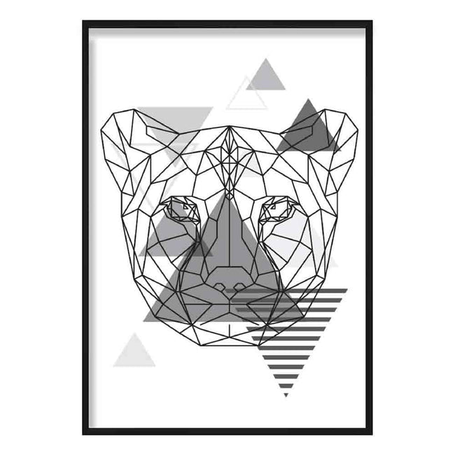 Cheetah Head Abstract Geometric Scandinavian Mono Grey Poster