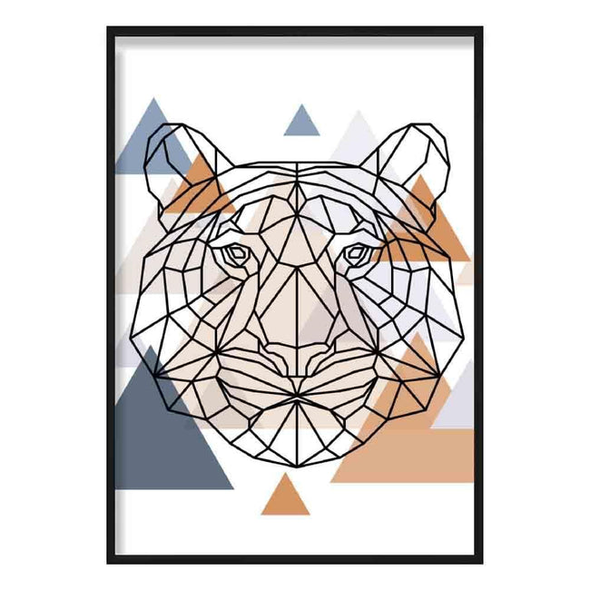 Tiger Head Abstract Multi Geometric Scandinavian Blue,Copper Poster