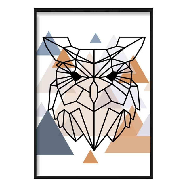 Owl Head Abstract Multi Geometric Scandinavian Blue,Copper Poster