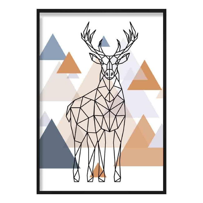 Majestic Stag Abstract Multi Geometric Scandinavian Blue,Copper Poster