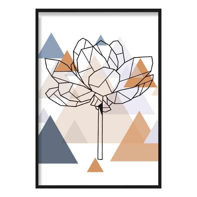 Peony Flower Abstract Multi Geometric Scandinavian Blue,Copper Poster