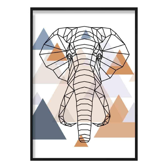 Elephant Head Abstract Multi Geometric Scandinavian Blue,Copper Poster