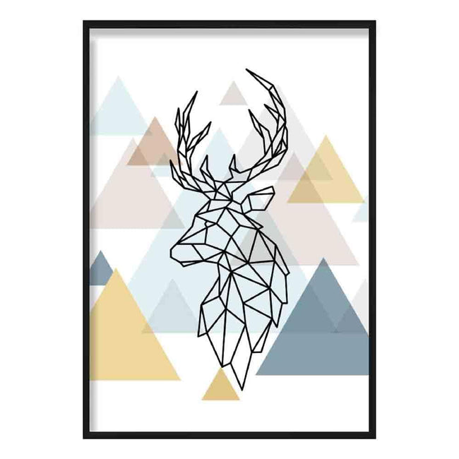 Stag Head Looking Left Abstract Multi Geometric Scandinavian Blue,Yellow,Beige Poster