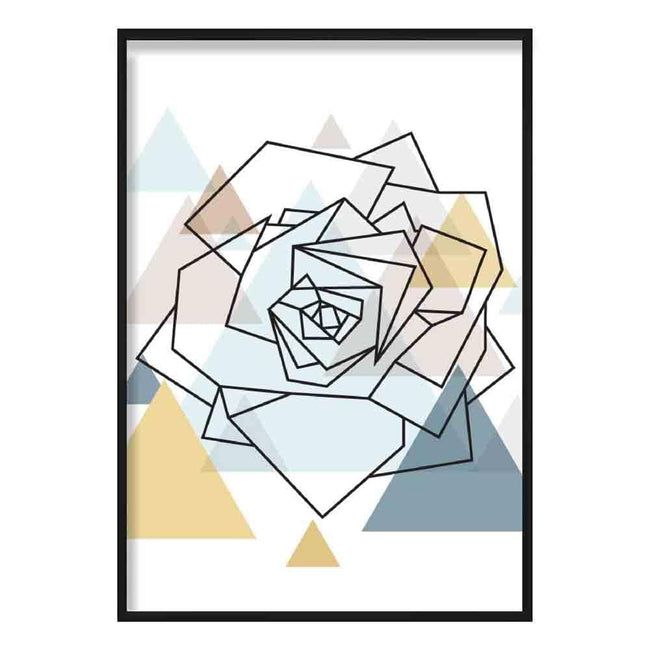 Rose Head Abstract Multi Geometric Scandinavian Blue,Yellow,Beige Poster
