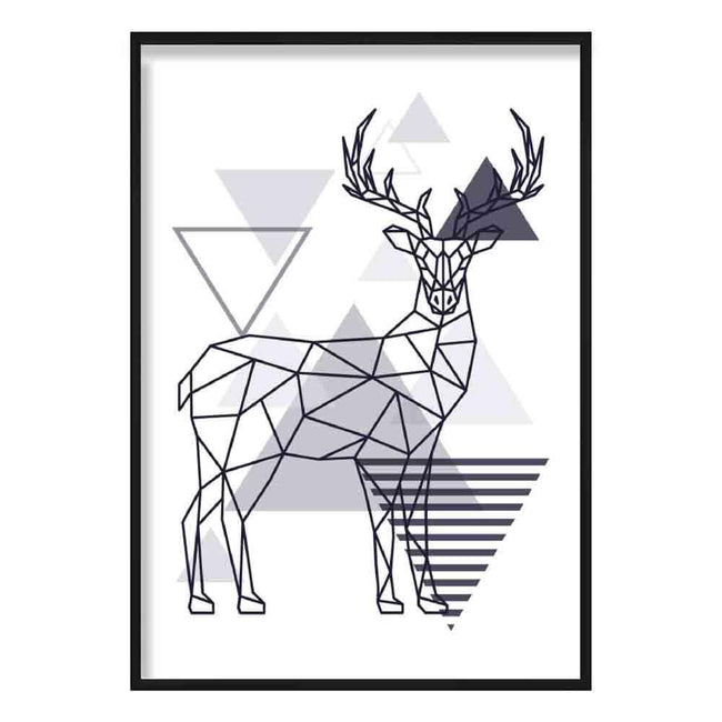 Stag Abstract Geometric Scandinavian Navy Blue Poster