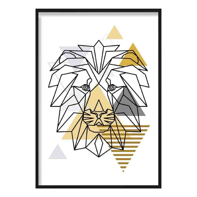 Lion Head Abstract Geometric Scandinavian Yellow and Grey Poster
