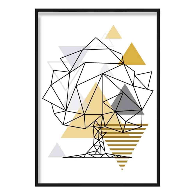 Tree Abstract Geometric Scandinavian Yellow and Grey Poster