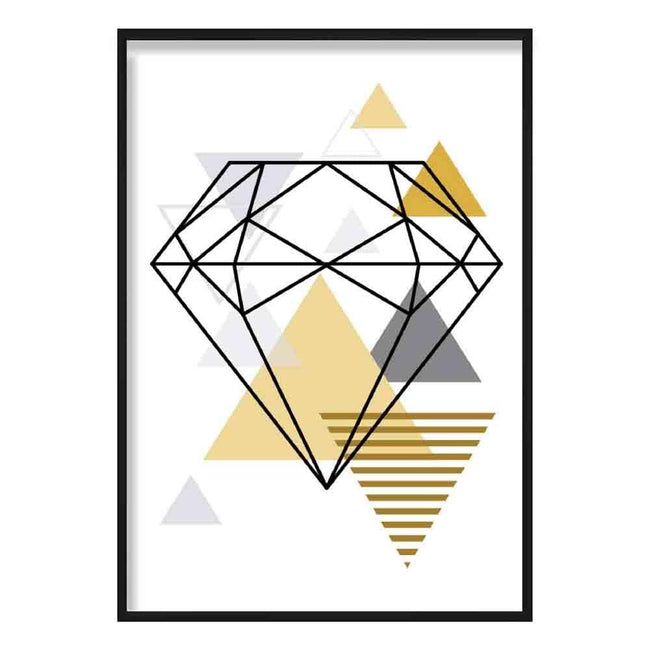 Diamond Abstract Geometric Scandinavian Yellow and Grey Poster