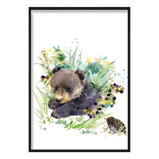 Baby Bear Watercolour Poster