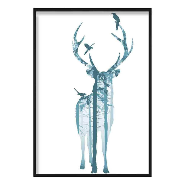 Forest Stag and Birds in Teal Art Print