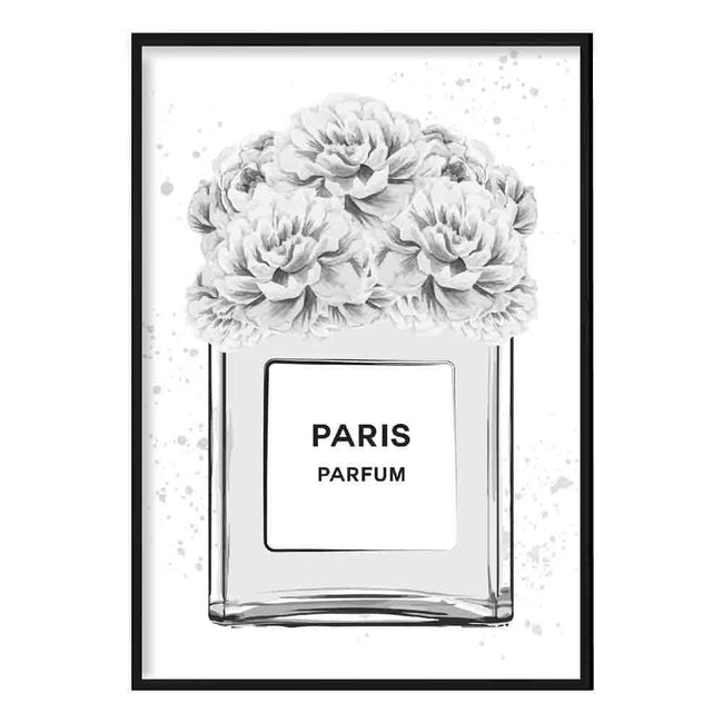 Grey and Black Paris Perfume Bottle with Peonies Poster