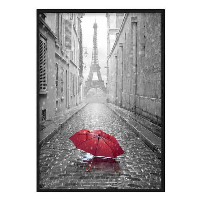 Black & White Paris Eiffel Tower Photo with Red Umbrella Poster