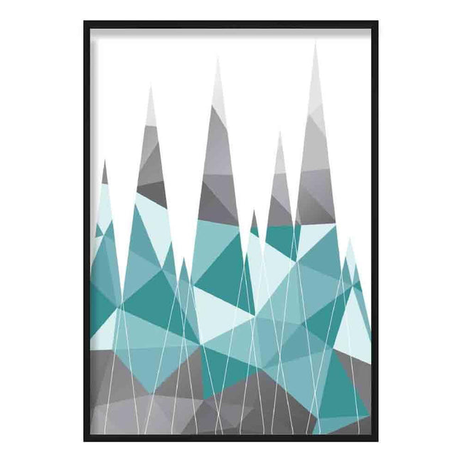 Geometric Poly Aqua Blue and Grey Mountains Poster