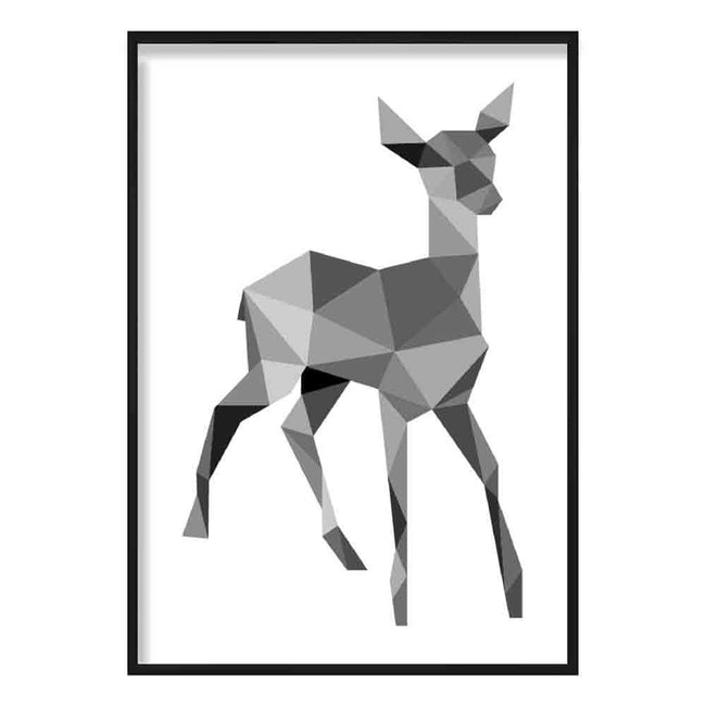 Geometric Poly Black and Grey Young Stag Poster