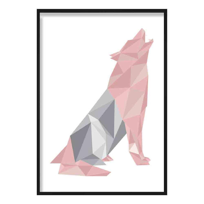 Geometric Poly Blush Pink and Grey Howling Wolf Poster