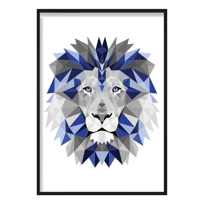 Geometric Poly Navy Blue and Grey Lion Head Poster