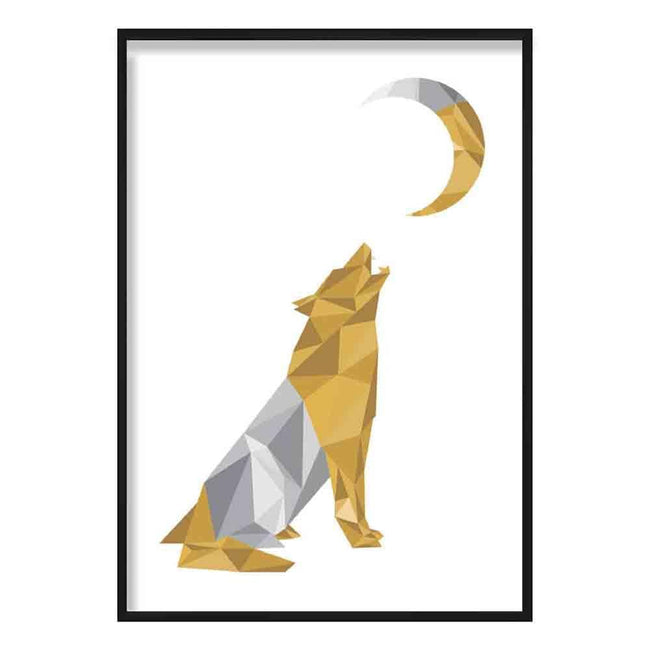 Wolf Howling at Moon Geometric Poly Yellow and Grey Poster