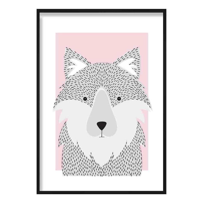 Wolf Sketch Style Nursery Baby Pink Poster