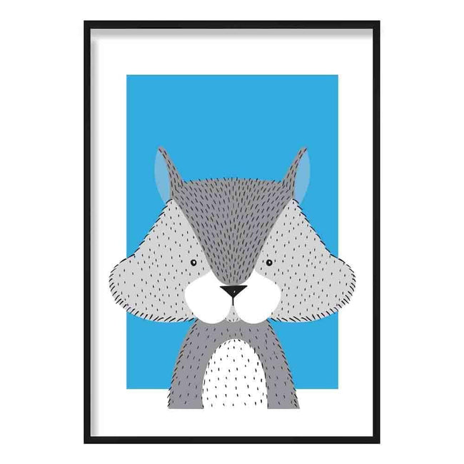 Squirrel Sketch Style Nursery Bright Blue Poster