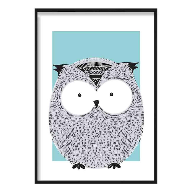 Owl Sketch Style Nursery Duck Egg Blue Poster