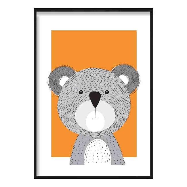 Koala Sketch Style Nursery Orange Poster