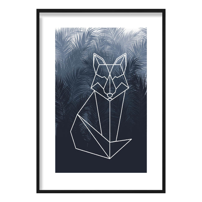 Geometric Sitting Fox with Navy Palms Art Print