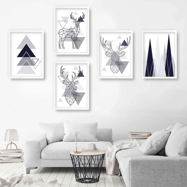 Set of 5 Scandinavian GEOMETRIC Gallery Wall Art Navy Blue and Grey Art Prints STAG head Mountains Wall Pictures Posters Artwork