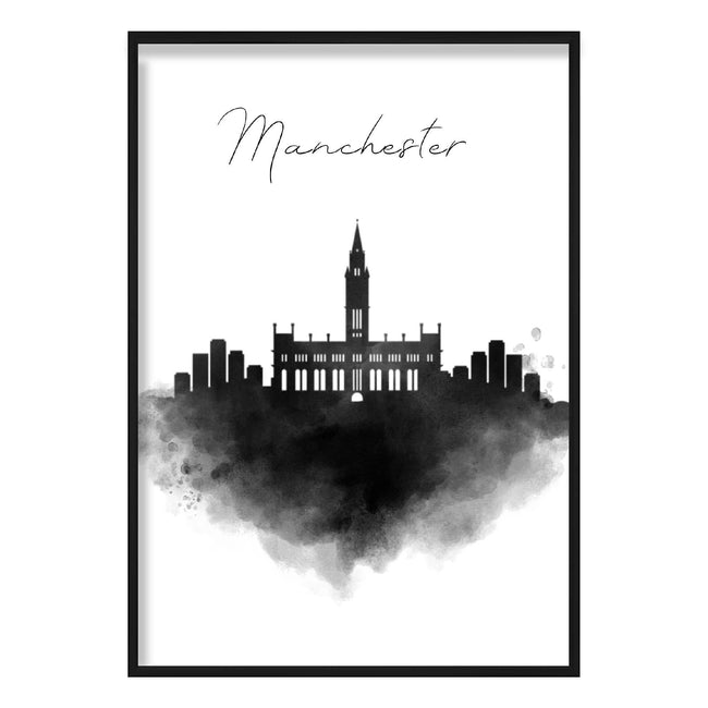 Manchester Watercolour Skyline Cityscape Print