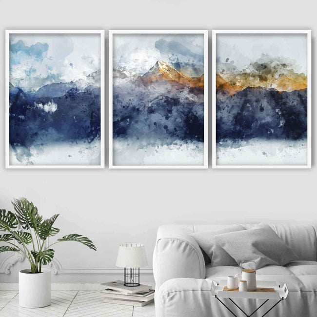 Set of 3 Abstract Art Prints of Paintings Navy Blue Yellow Golden Mountains