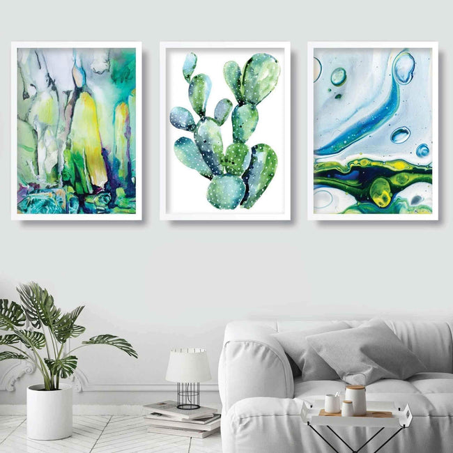 Set of 3 CACTUS Abstract Paintings Aqua Turquoise Wall Art Prints