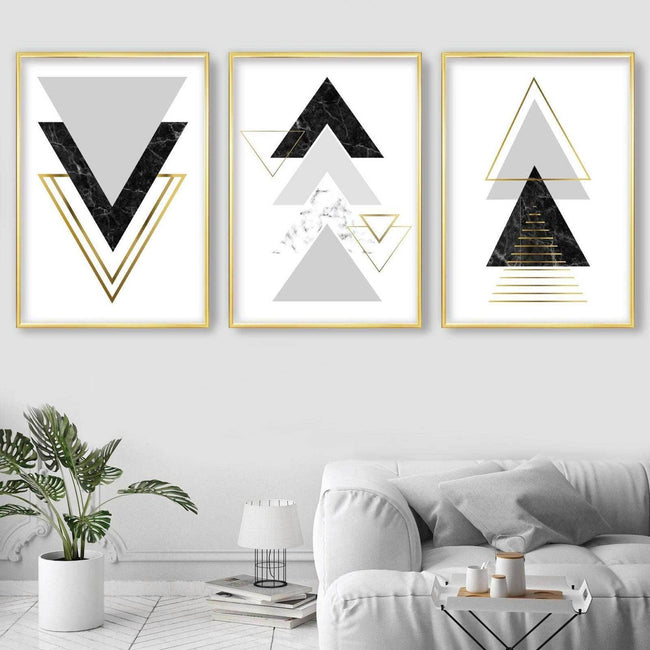 GEOMETRIC set of 3 Black Grey & Gold Effect Art Prints Abstract Triangles Pattern