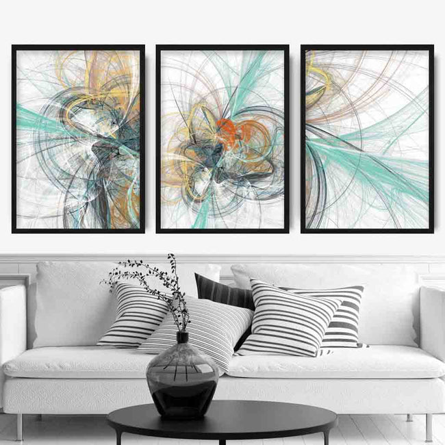 Set of 3 Teal & Yellow Abstract Prints
