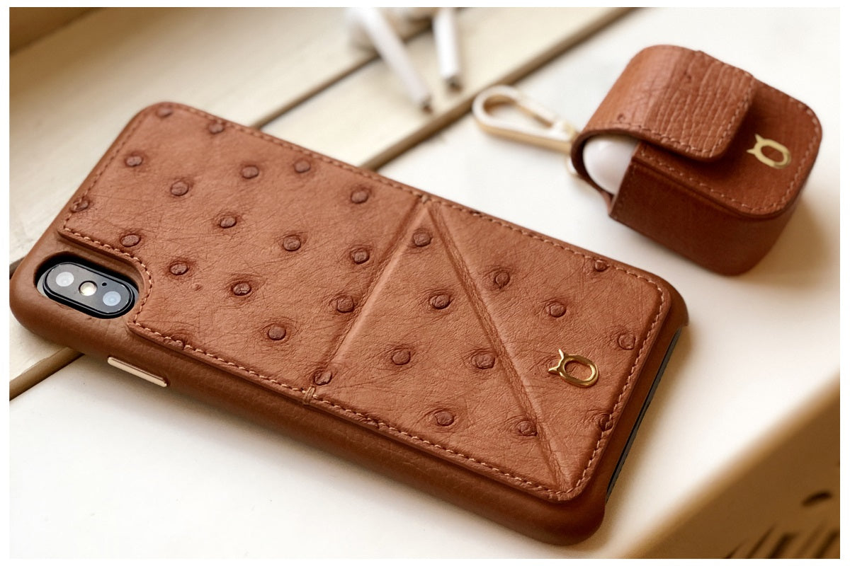 Ostrich Leather Case_ iPhone XS Max Italian Leather Case