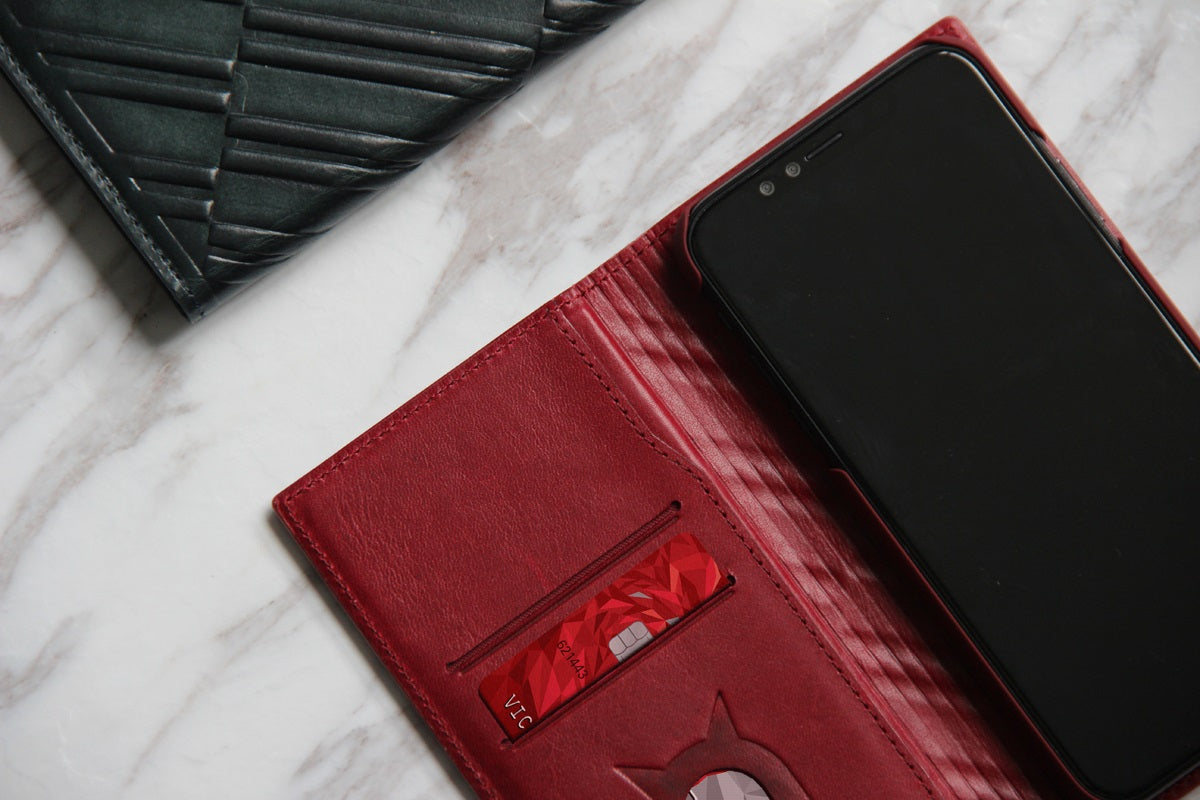 Emboss Leather Folio_iPhone X Italian Leather Case
