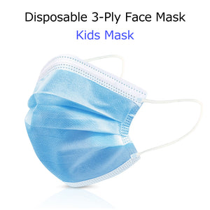 Kids Mask, 3-Ply Disposable Efficient Children Face Mask, Medical Mask, Earloop, UltraLight Weight, Polyester Masks for Children Personal Health