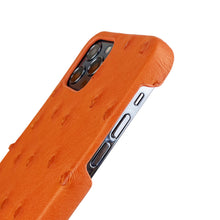 Load image into Gallery viewer, Ostrich Leather iPhone 12 | 12 Pro Case _ Unique - Orange