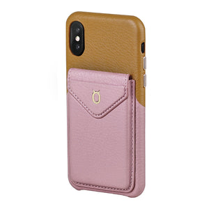 Cover & Go FX _ iPhone XS Italian Leather Case - Brown&Pink