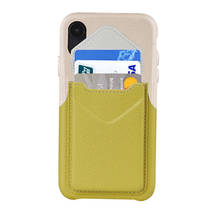Cover & Go FX _ iPhone XS Italian Leather Case - Beige&Yellow