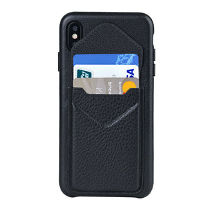 Cover & Go FX _ iPhone XR Italian Leather Case - Black&Black